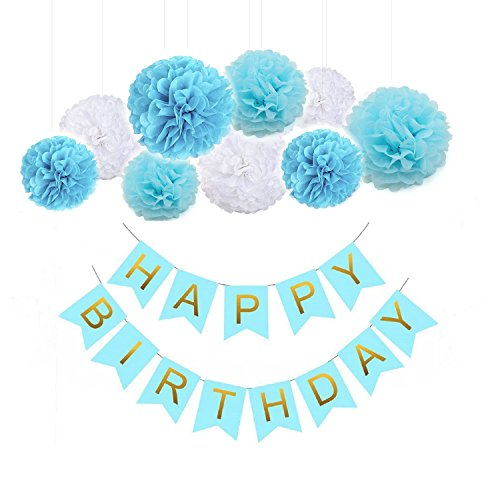 Sopeace Blue Happy Birthday Bunting Banner Hanging Tissue Paper Pom