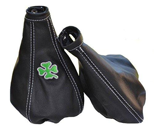 Gear & cuffia leva freno a mano nero in pelle italiana Clover logo bianco Stitch The Tuning-Shop Ltd