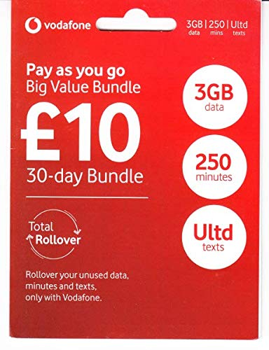 UK Vodafone SIM Card for Europe with Fast 4G LTE Data,Unlimited Texts, and Direct Call Option to The USA (Best Prepaid Sim Card Spain)