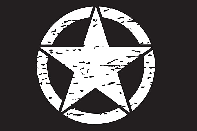 The Pixel Hut gs00234 17 Army Green Distressed Military Star Hood Decal