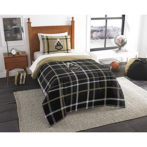 D-UNKN 2pc NCAA Purdue Boilermakers West Lafayette Twin Comforter Set, Purdue Merchandise, Black, Team Spirit, College Football Themed, Team Logo, Polyester, Sports Patterned Bedding - Lafayette Comforter Set