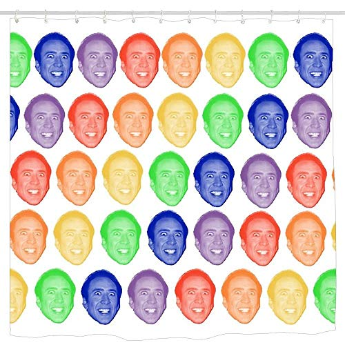 Dongingp Nicolas Cage Rainbow Mug Shower Curtain, Waterproof and Mildew Resistant Fabric Bathroom Decor 6072 ()