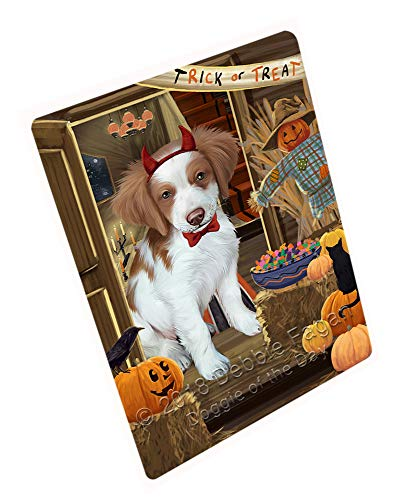 (Doggie of the Day Enter at Own Risk Trick or Treat Halloween Brittany Spaniel Dog Blanket BLNKT94764 (50x60 Fleece) )