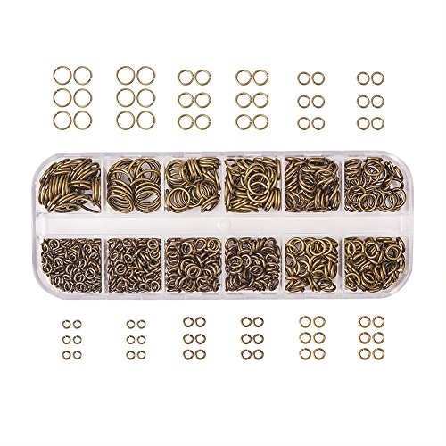 PH PandaHall Brass Promo Beads 4-10mm Diameter Close but Unsoldered Jump Rings in 1 Box Antique Bronze
