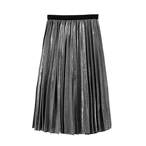 club jupe jupe Femmes dames Gris jupe polyester mtallis color jupe partie mtallique Balai haute en plisse jupe C8S15wwq