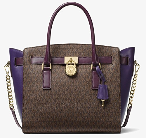 MICHAEL Michael Kors Studio Hamilton Large East West Satchel (Brown/Damson/Iris)