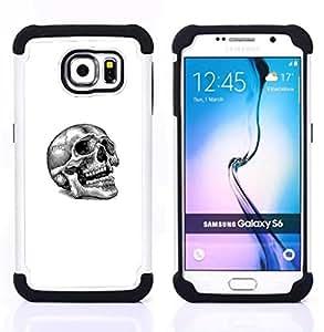 """Samsung Galaxy S6 / SM-G920 - 3 en 1 impreso colorido de Altas Prestaciones PC Funda chaqueta Negro cubierta gel silicona suave (Tatuaje del cráneo"""")"""