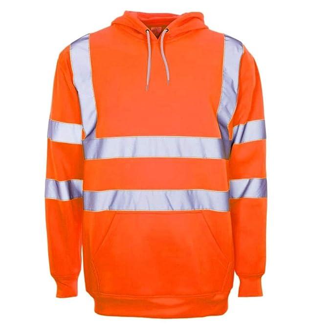 Hi Viz Vis Kids Jacket Visibility Hooded Hoodie Track Suit Fleece Workwear Kids