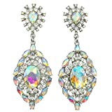 Stunning Long Rhinestone Bling Post Dangle Boutique Style Earrings (AB Iridescent)