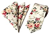 Men's Cotton Printed Floral Necktie & Pocket Square Set Fashion Skinny Long Tie (MK05)