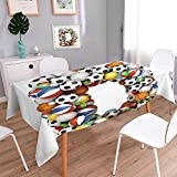 PINAFORE HOME Jacquard Cotton Fabric Tablecloth Letter D Stacked from Gaming Balls Alphabet Oblong/Rectangle/W54 x L120 Inch