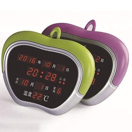 Reloj Despertador Apple LED Digital Calendario Perpetuo Reloj Electrónico Reloj De Pared Noche Silenciosa Estudiante Infantil