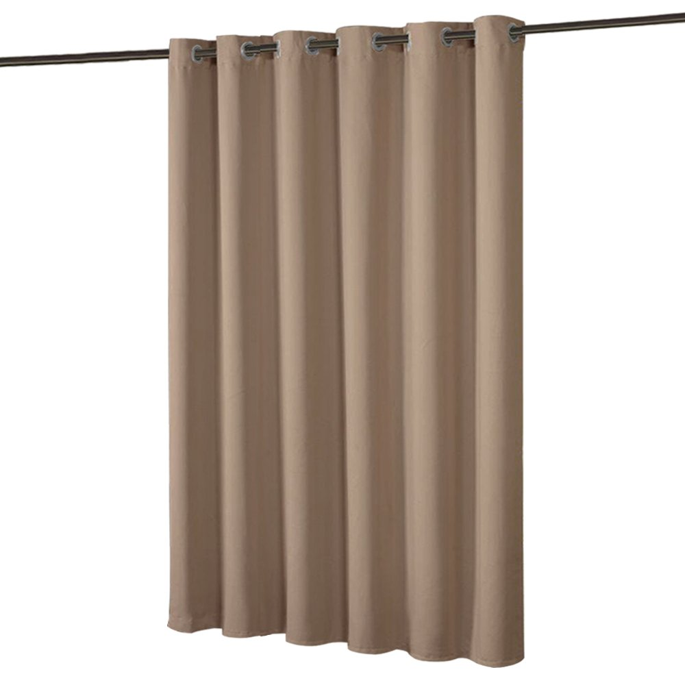 PONY DANCE Room Partition Curtain - Privacy Blackout Curtains Screen Home Decor Bedroom Space Divider Shared Partition Children, Studio, Storage, Single Panel, 9 Tall x 10 Wide, Mocha