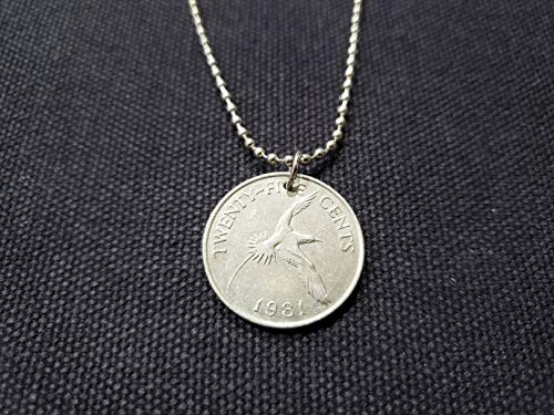 CoinageArt -Bermuda Coin Necklace Seagull 25 Cents Of Bermuda Dated 1981 on Adjustable Stainless Steel Ball Chain - Seagull Necklace 1065
