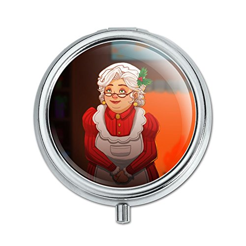 Mrs Claus with Mistletoe Santa Christmas Holiday Pill Case Trinket Gift Box
