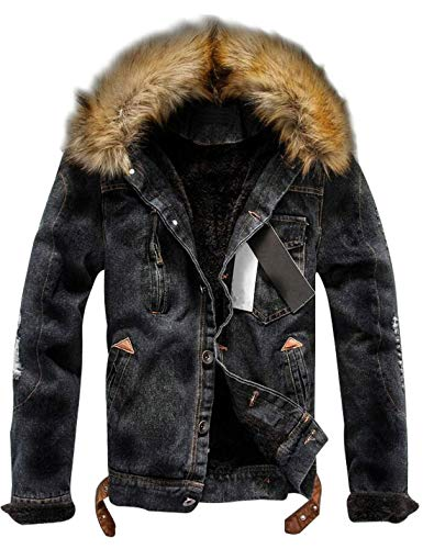 - Omoone Men's Button Up Sherpa Fleece Lined Denim Jacket with Faux Fur Collar (Black, XL)