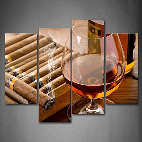 Framed Liquor & Cigar Modern Picture Wall Art Canvas Prints