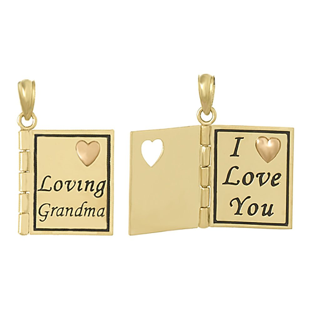 14k Yellow Gold Book Charm Pendant, 3D Loving Grandma Book, I Love You & Heart Inside, Moveable