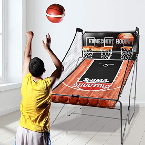 Giantex Indoor Basketball Arcade Game Sport Double Triple Electronic Hoops Shot 2 Player 3 Player W/ 4,6 Balls (3 Player)