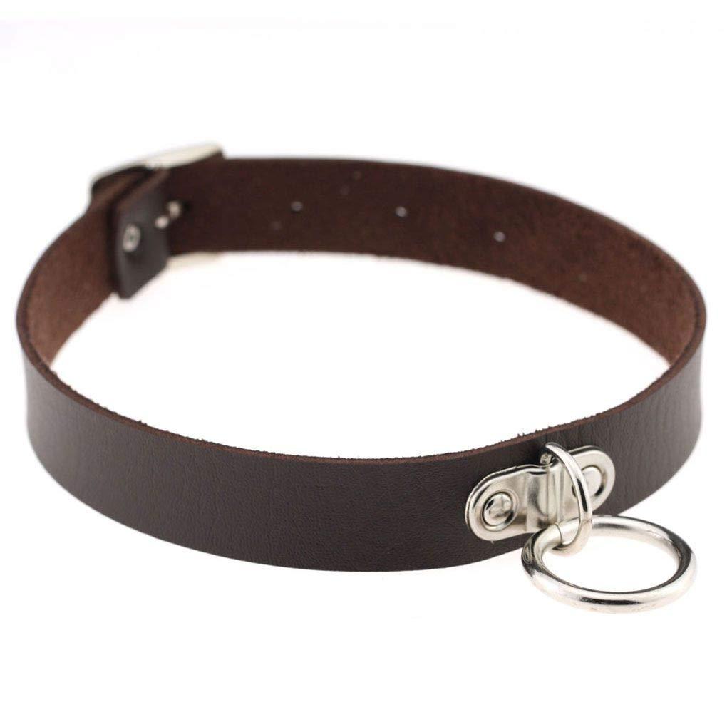 Bobury Women Girls Gothic O-Ring Collar Punk PU Leather Choker Necklace Short Necklace Jewelry Neck Harness