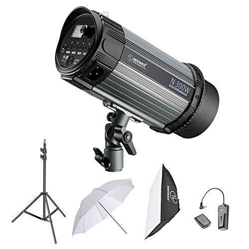 Neewer 300W Studio Strobe Flash Photography Lighting Kit:(1)Monolight,(1)6.5 Feet Light Stand,(1)Softbox,(1)RT-16 Wireless Trigger Set,(1)33 Inches Umbrella for Video Location and Portrait Shooting by Neewer