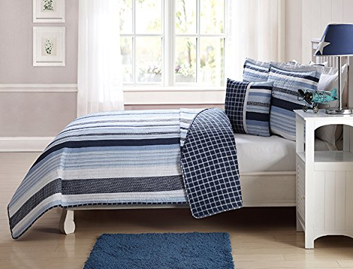 My World QS1939TW3-2600 Kids Mason Stripe Twin Quilt Mini Set,
