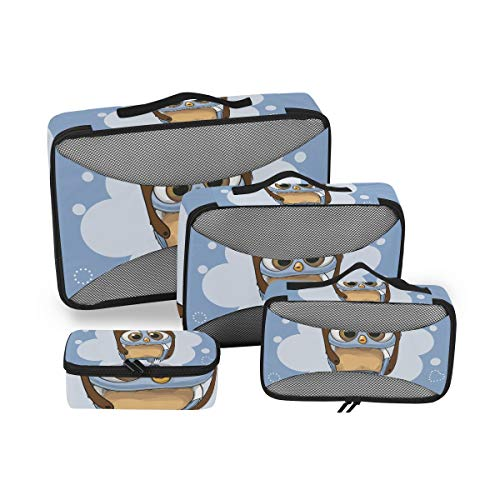 Cute Owl Bird Pilot Packing Cubes 4 Piece Set Travel Luggage Suitcase Organizer
