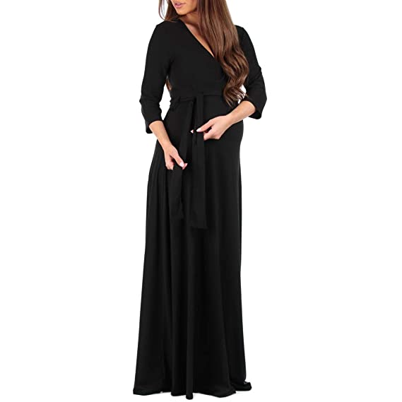 28fcf16487a Women s Faux Wrap Maternity Dress with Adjustable Belt - Made in USA at  Amazon Women s Clothing store