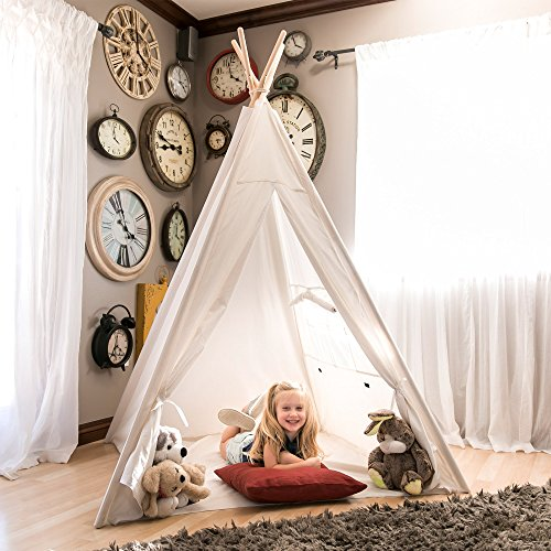 Best Choice Products 6ft Kids Cotton Canvas Indian Teepee Playhouse Sleeping Dome Play Tent w Carrying Bag, Mesh Window – White