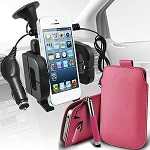 Samsung I9500 Galaxy S4 premium protección PU ficha de extracción Slip In Pouch Pocket Cordón piel con lápiz óptico retráctil, Micro 12v cargador de coche USB y soporte universal de la succión del parabrisas del coche Vent Cuna Baby Pink por Spyrox