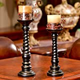 XiYunHan Candlestick Decoration American Rural Nordic Resin Crafts Decoration Living Room New House Decoration Gift Romantic Candlelight Dinner Bracket Desktop Decoration Candle Cup Two-Piece Set