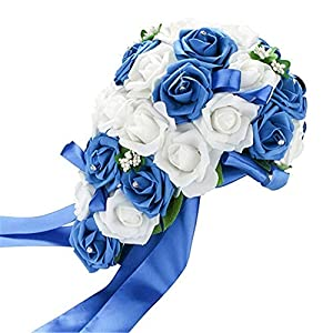 MARJON FlowersRomantic Bridal Bouquet Artificial Foam Rose Bouquet of Flowers for Wedding (White&Royal Blue) 59