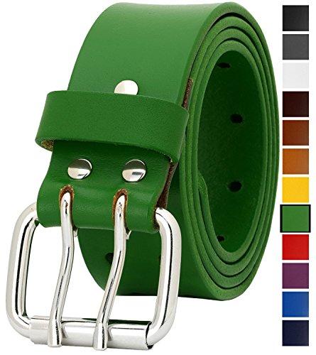 Falari Men's Full Grain Leather Belt Double Prong Belt 9004 (34 (waist 32), 9024 Green, Stainless Steel Buckle)