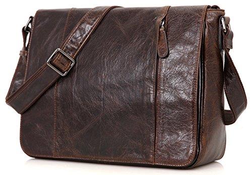 Bag Bags Coffee Genuine Body Messenger Mens Leather Everdoss Top Cross Shoulder AnzWXTUa