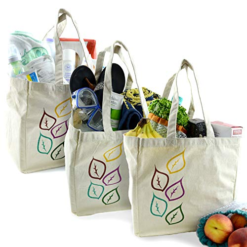 Eco Friendly Grocery Shopping Tote Bags (3 Pack) Foldable, Collapsible, Washable and Reusable, Soft & Durable, Large Premium Canvas Cloth, Heavy Duty Muslin Bag Set with Extra Long Handles ()