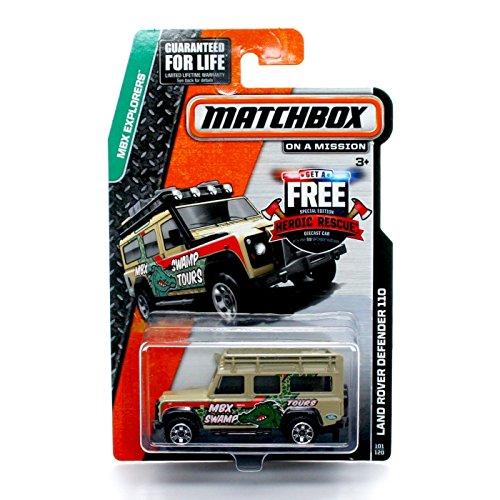 Matchbox LAND ROVER DEFENDER 110 (MBX Swamp) * MBX Explorers * 2014 on a Mission Basic Die-Cast Vehicle (#101 of 120) ()