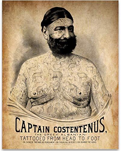 The Tattooed Man - Captain Costentenus - 11x14 Unframed Art Print - Great Tattoo Shop Decor and Gift Under $15 for Tattoo Artists (Print Art Tattoo)