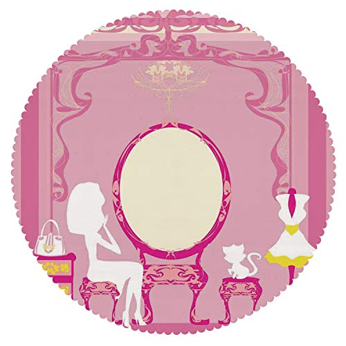 Durable Round Tablecloth [ Girls,Lady Sitting in Front of French Cosmetic Make Up Mirror Furniture Dressy Design,Pink Yellow ] Fabric Home Tablecloth (French Provencal Decor)