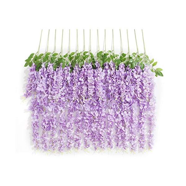 Huata 10PCS 3.2 Feet Artificial Flower Wisteria Vine Ratta Hanging Wedding Decor Garlands(Purple)