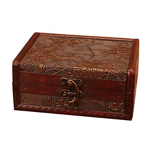 - TRENTON Lockable Wooden Jewelry Storage Box Case Necklace Earrings Holder Organizers Random Style