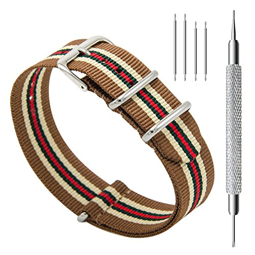 CIVO Watch Bands NATO Premium Ballistic Nylon Watch Strap Stainless Steel Buckle (Linen/Army/Crimson, (Stainless Steel Watch Band Buckle)