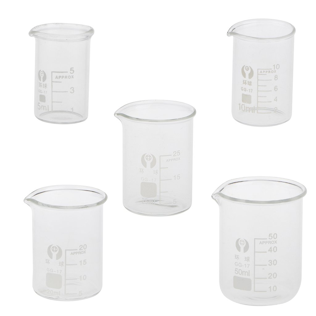 LOVIVER 5mL 10mL 20mL 25mL 50mL Borosilicate Glass Beaker Measuring Lab Glassware X5
