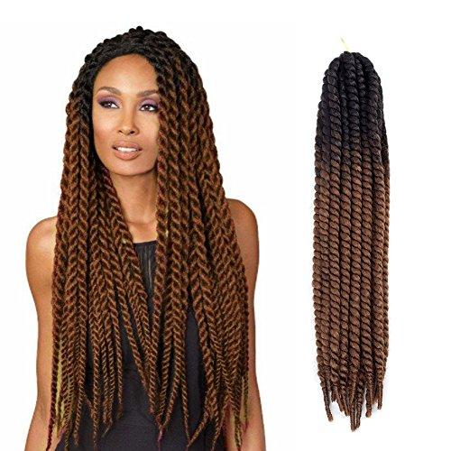 [24 inch 5Pcs Crochet Braid Hair Extensions Havana Mambo Twist 12 Strands/bundle 120g (1B Natural Black-Brown)] (Brown Twist)