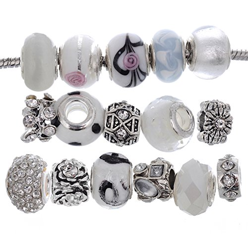 RUBYCA Murano Lampwork Charm Glass Beads Tibetan Crystal European Bracelet Mix Assortment White (White Spacer)