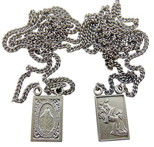 Westman Works Pewter Catholic Scapular Medal Our Lady of Mount Carmel & Sacred Heart on a Stainless Steel Chain ()