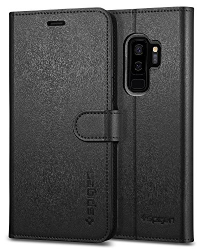 Spigen Wallet S Galaxy S9 Plus Case with Foldable Synthetic Leather with Kickstand Feature and Card Slot for Samsung Galaxy S9 Plus (2018) - Black