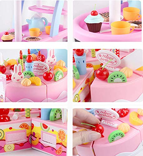 KKING Birthday Party Cake Play Cart Set -Birthday Gift Children's Day Gift Play Food Cake Toy Set DIY Pretend Cutting Cake Toys 56 Pieces for 3+ Kids (Flashing Candle Included) by KKING (Image #4)