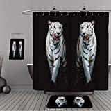 Uhoo Bathroom Suits & Shower Curtains Floor Mats And Bath Towels 286319753 Twin white tigers are walking isolated on black background For Bathroom