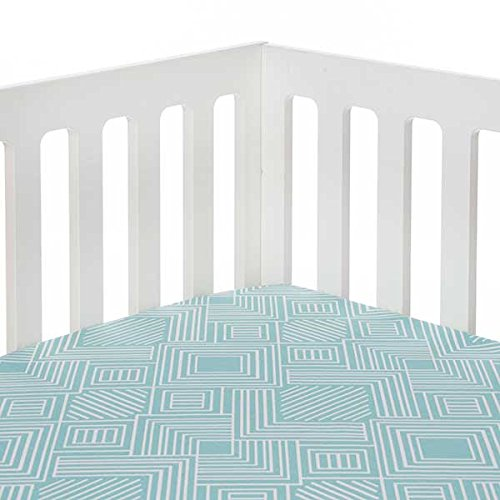 Sweet Potato Soho Fitted Sheet, Aqua Print - Soho Fitted Sheet
