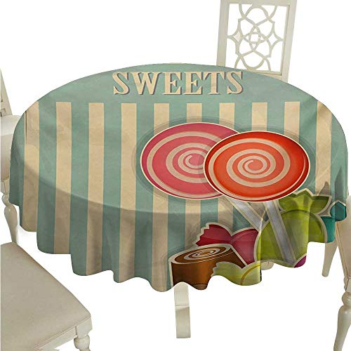 cashewii Vintage Elegance Engineered Christmas Tablecloth Retro Old Candy Store Chocolates Lollipops with White Stripes on Baby Blue Backdrop for Kitchen Dinning Tabletop Decoration D70 Multicolor